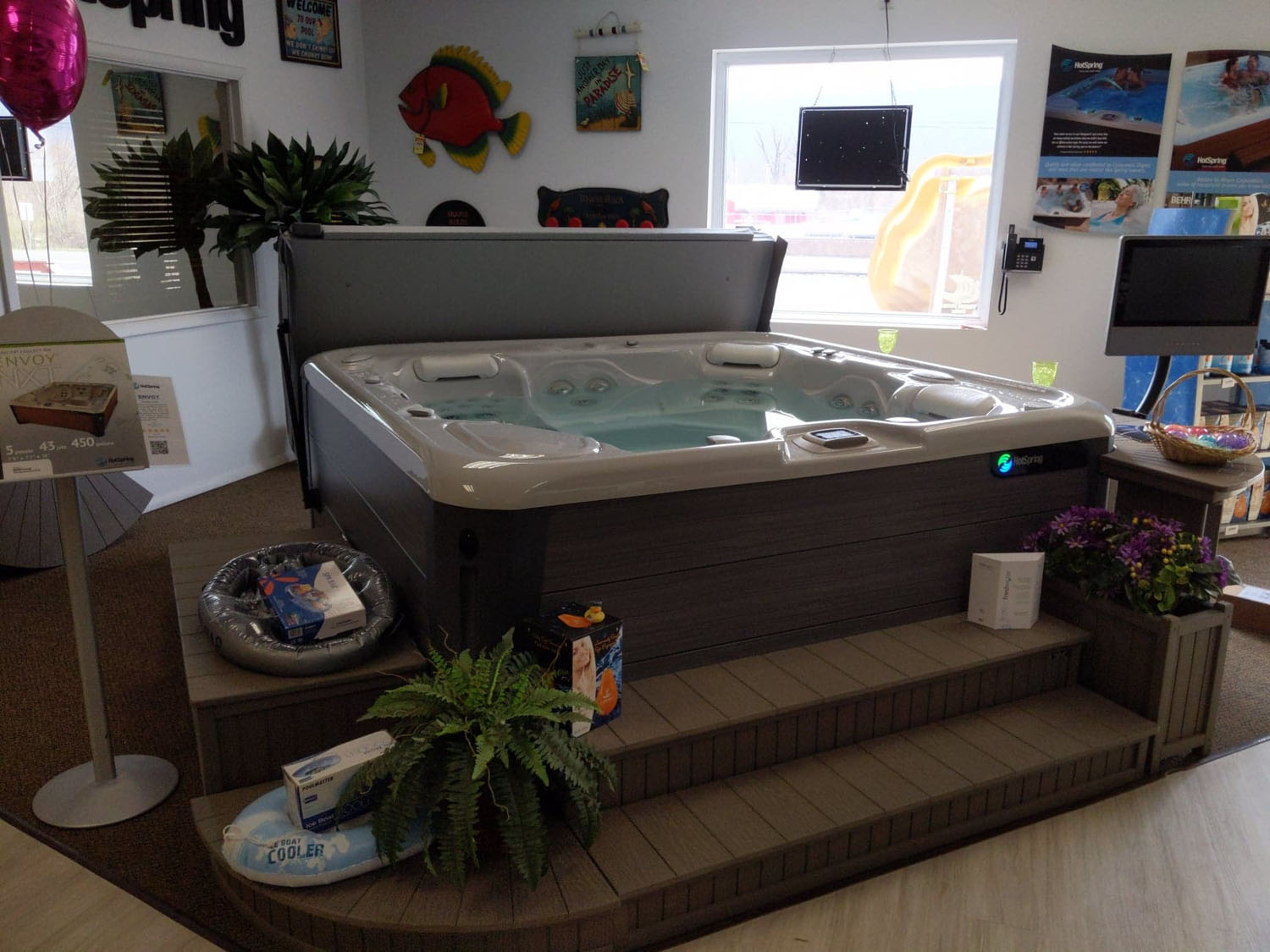Hot tub surrounded by steps and chest in the Bloomsburg PA showroom