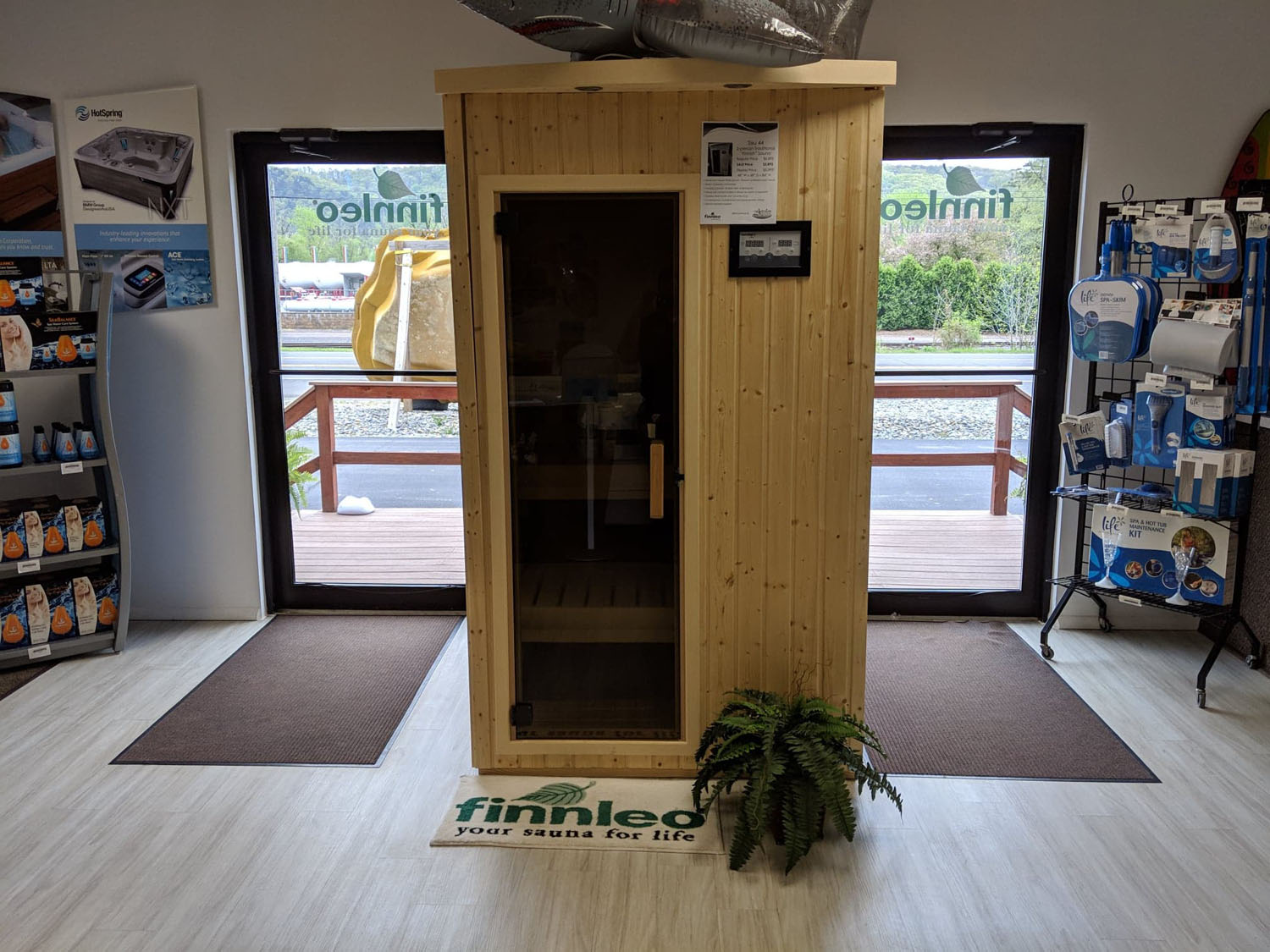 Sauna on display in the Bloomsburg PA showroom
