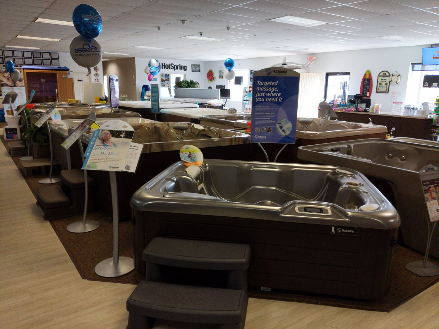 All hot tubs on display in the Bloomsburg PA showroom