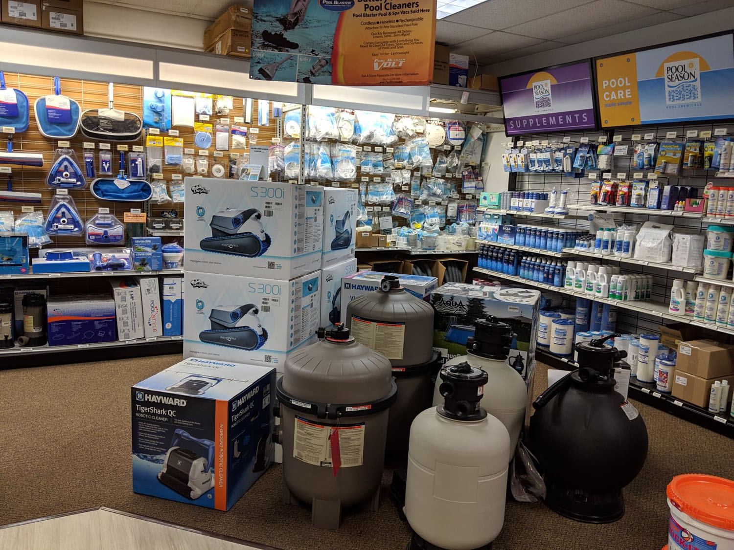 Pool repair and pool supplies products displayed in our Bloomsburg showroom