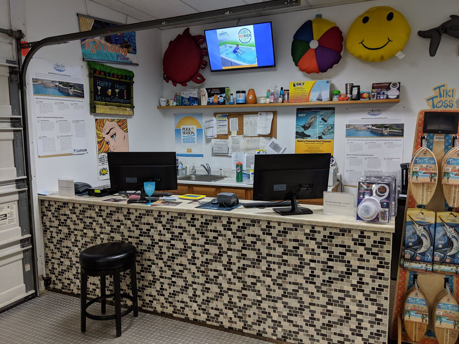 View of the front desk at the pool service department at the Bloomsburg showroom