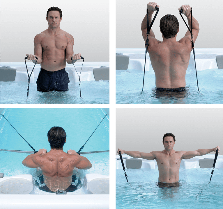 Man toning and sculpting arms in Vita Swim Spa with resistant bands