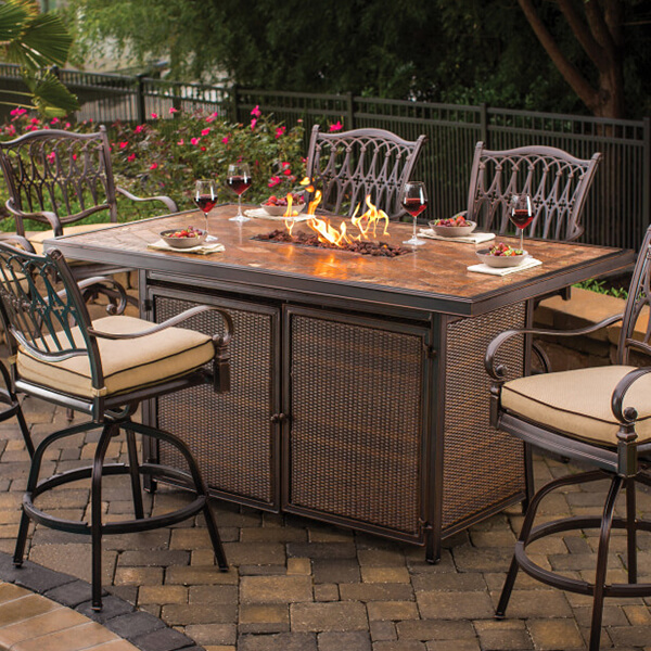 Emily Rose Saranac Fire Table at Hot Tubs by Hot Spring