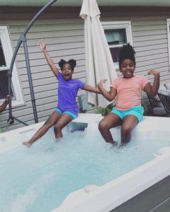 Girls enjoying hot tub