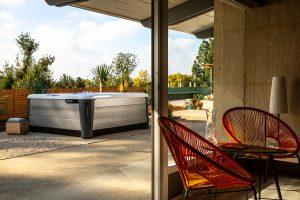 backyard patio with HotSpring spa