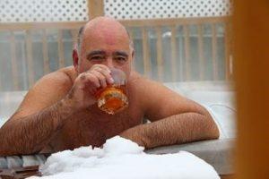 Jose enjoying his Grandee in the snow